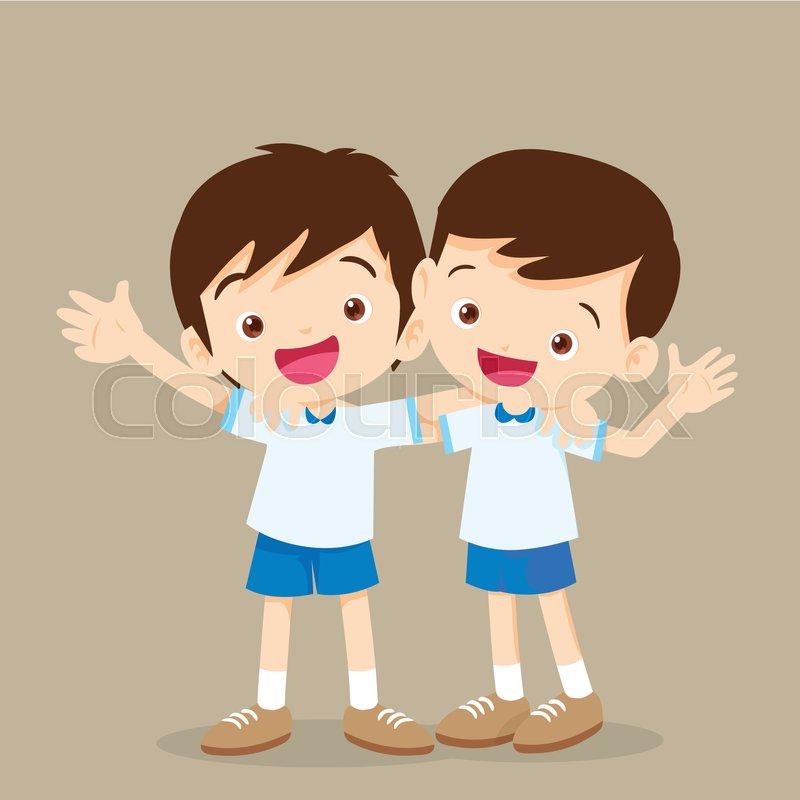 Two boys hugging,cute best friends,.