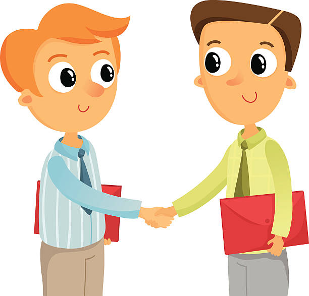 Two young business man shaking hands, isolated on white.