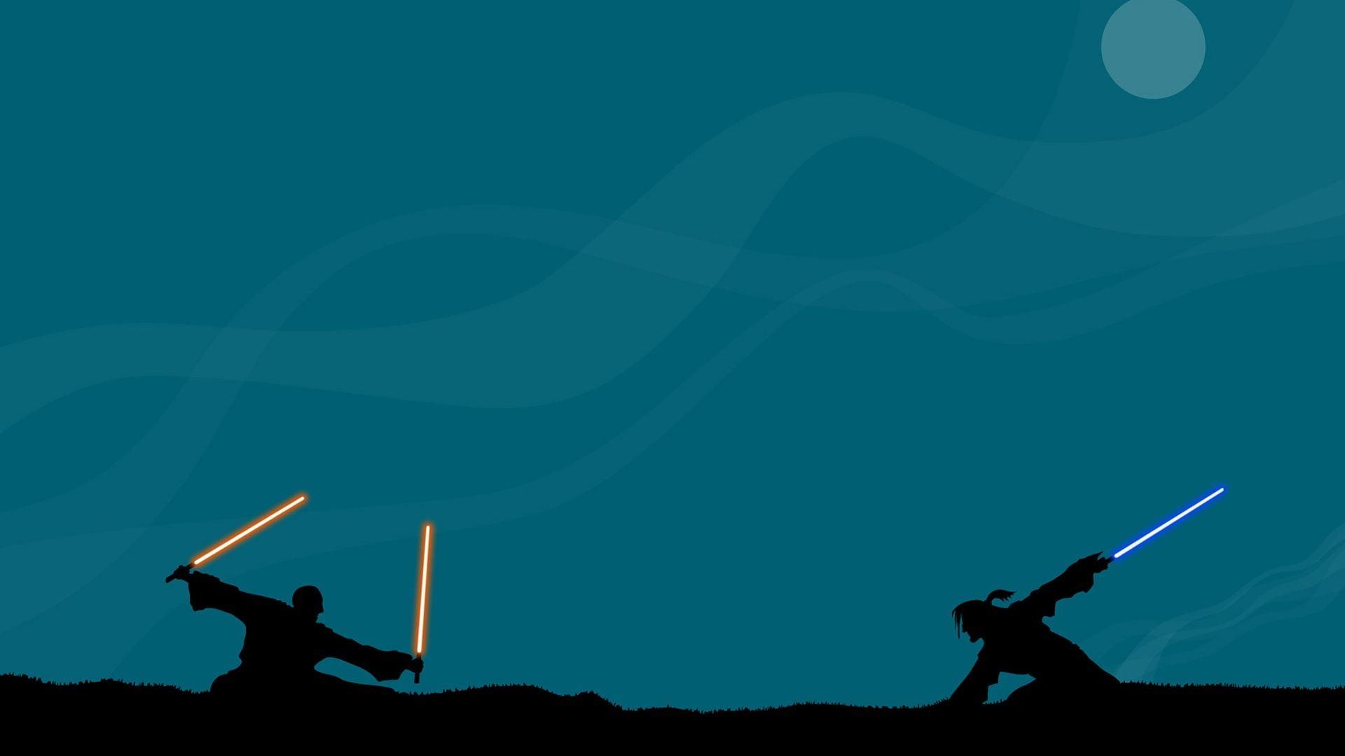 Star Wars Lightsaber fight digital wallpaper, Star Wars.