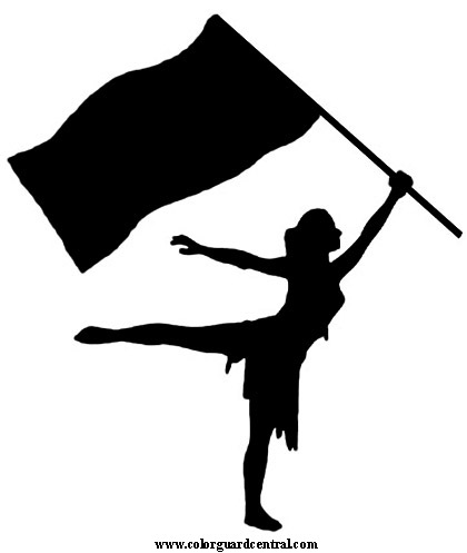 Two color guard flags clipart.