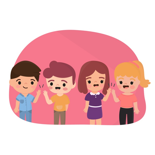 Illustration with childrens giving high five Vector.