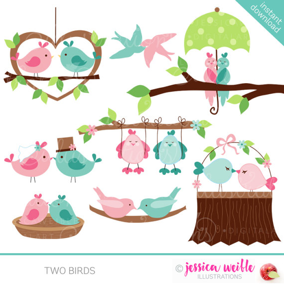 Two Birds Cute Valentine Digital Clipart.