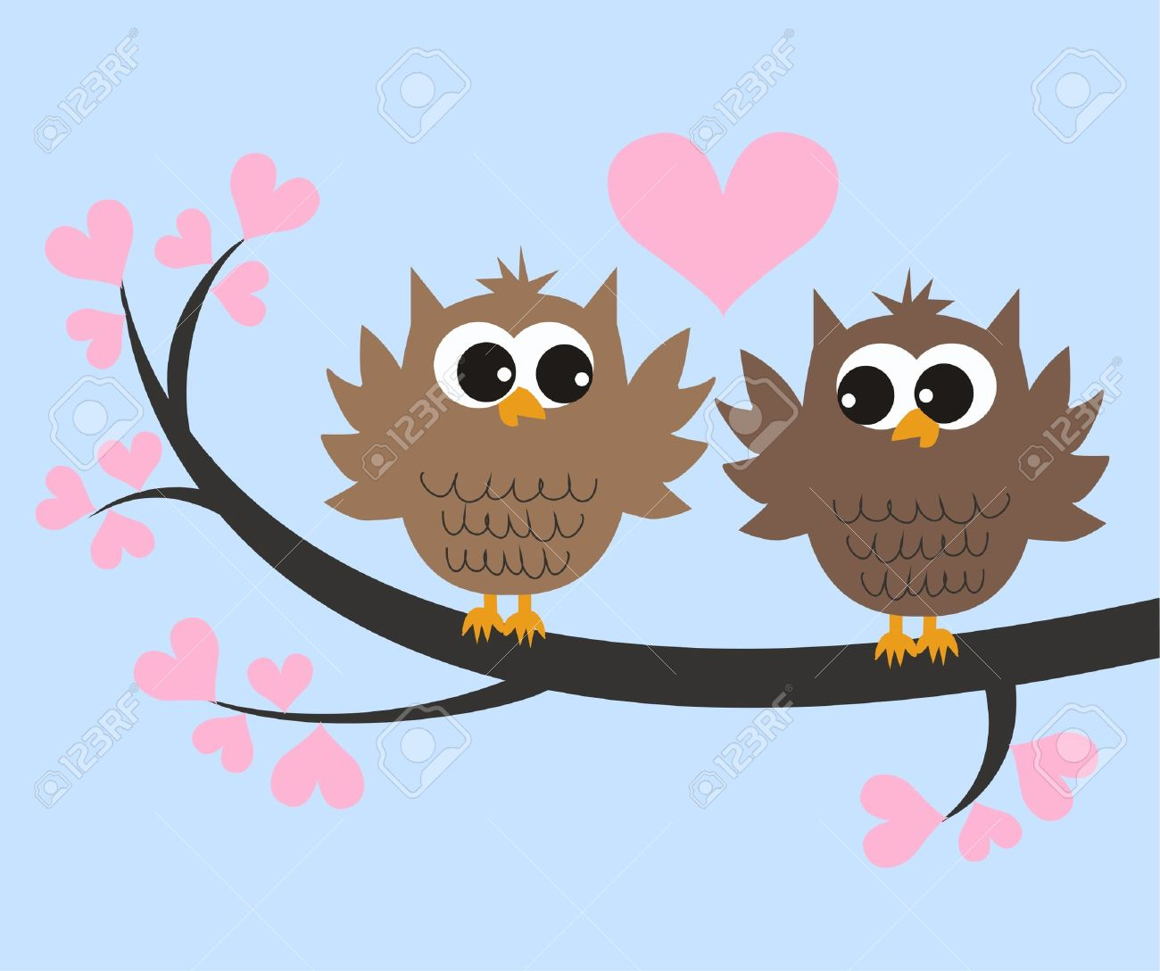 Two Cute Owls In Love Royalty Free Cliparts, Vectors, And Stock.