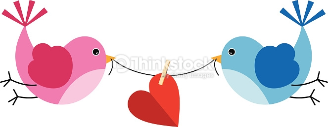 Two Cute Birds Holding A Piece Of String With Heart Vector Art.