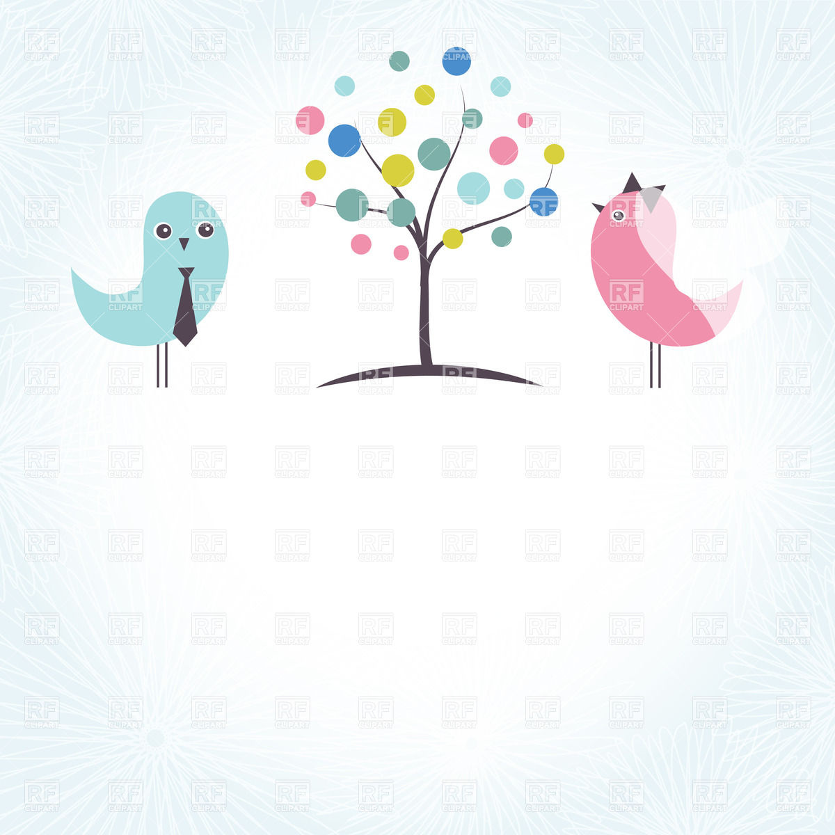 Wedding invitation with two cute birds and stylish tree Vector.