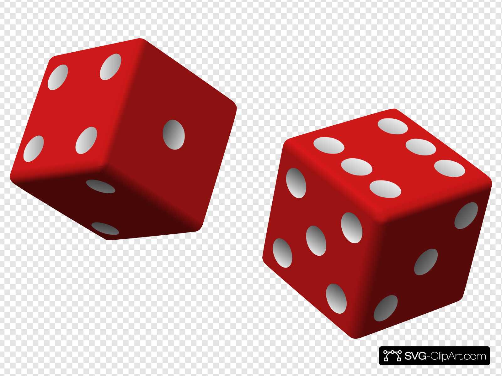 Two Red Dice Clip art, Icon and SVG.
