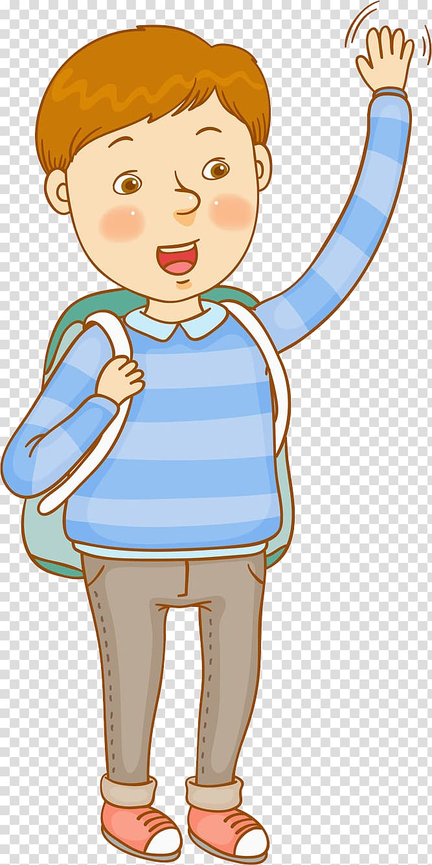Cartoon Child, School boy transparent background PNG clipart.