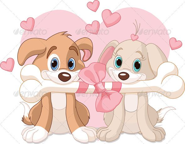 Two Valentine dogs holding decorated bone.