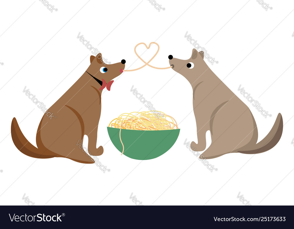 Two dogs sharing spaghetti as they eat from the.