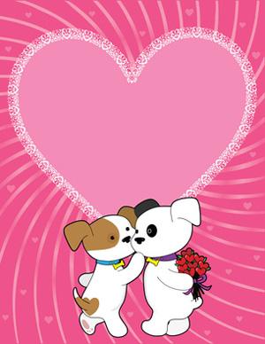 Two Valentine Puppies.