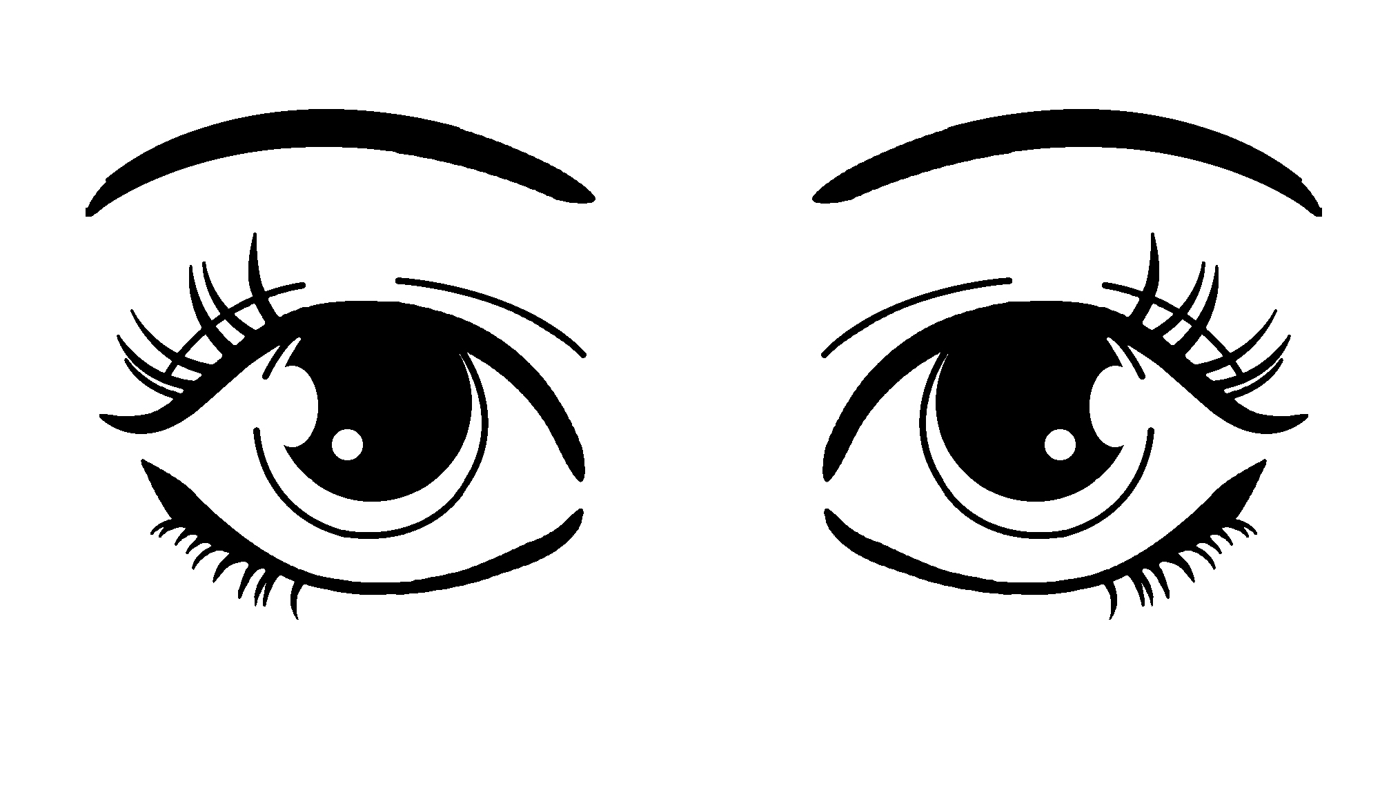 Two Eyes Clipart Black And White.