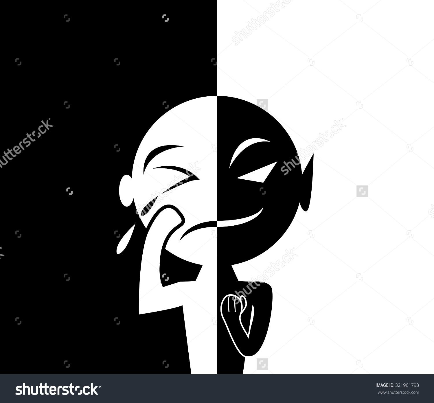 Two Face Man Human Form Sad Stock Vector 321961793.