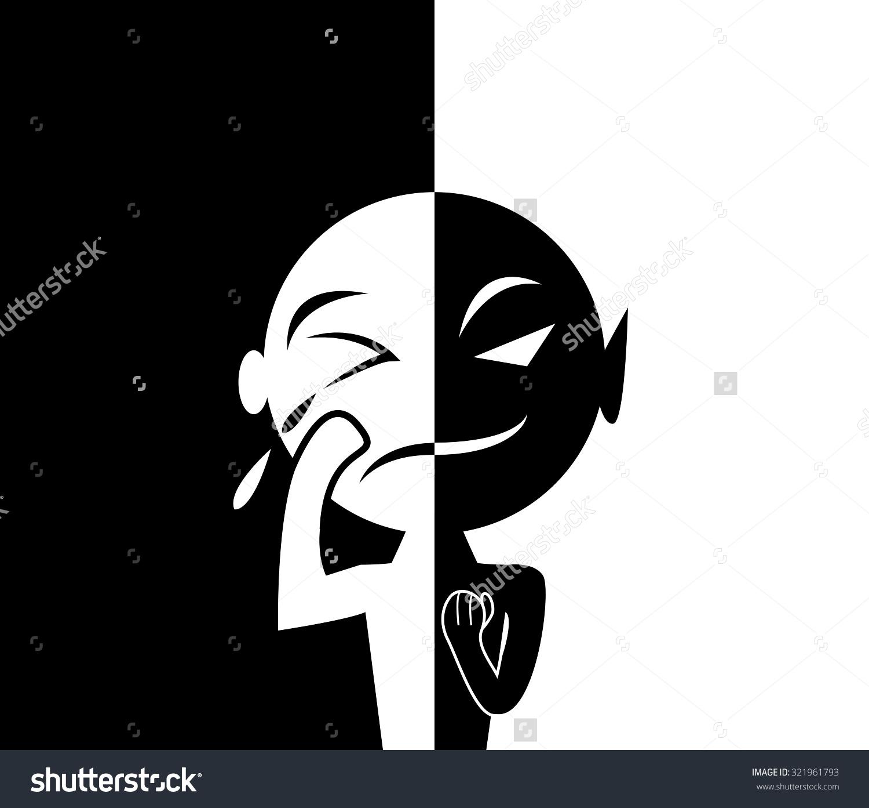 Two Face Man Human Form Sad Stock Vector 321961793.