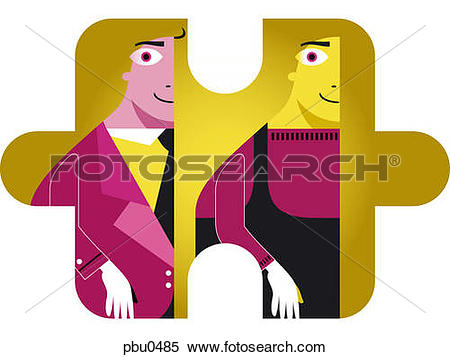 Stock Illustration of Two figures on a puzzle piece pbu0485.