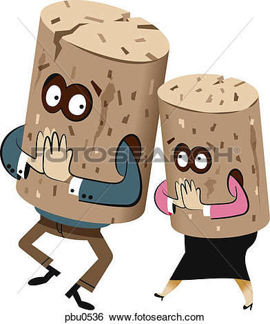 Stock Illustration of Illustration of two figures wearing cork.