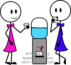 Clip Art Image of Two Stick Figure Woman Chatting Around a Water.
