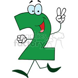 Cartoon Number 2 Green holding up Two Fingers clipart. Royalty.