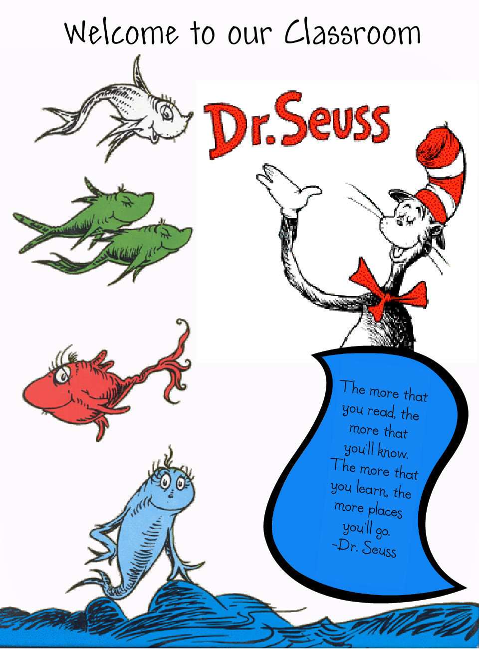 One Fish Two Fish Red Fish Blue Fish Printables Dr seuss fish clip.