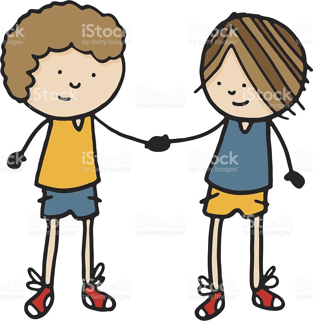 Two Friends Shaking Hands stock vector art 165814123.