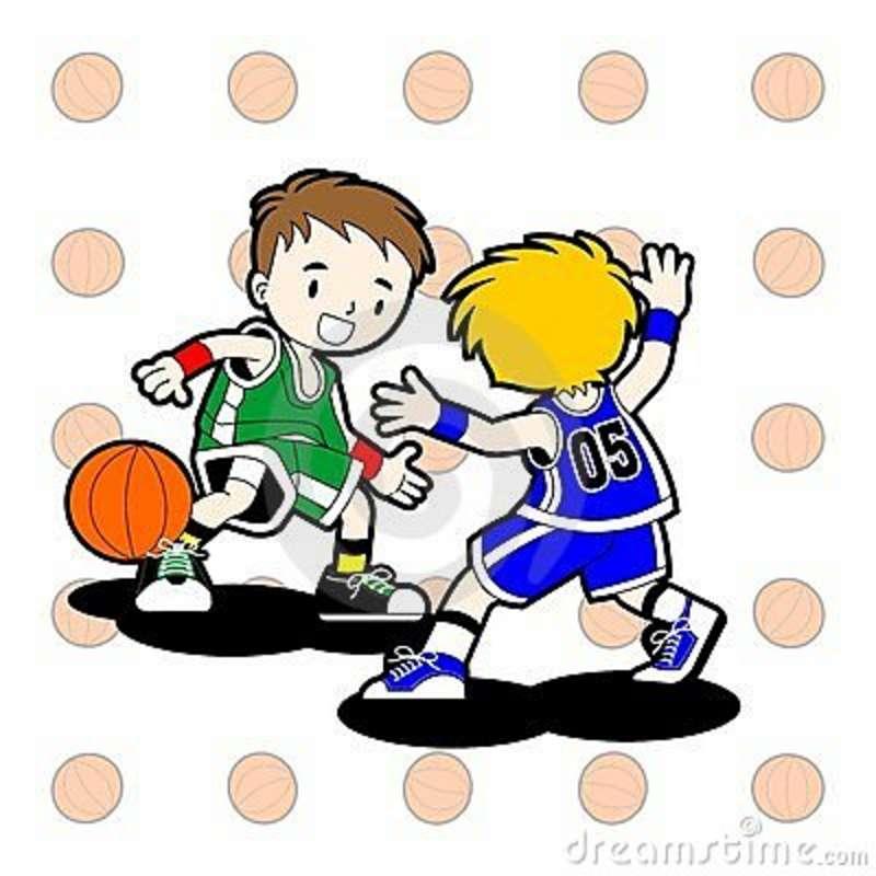 Kids Playing Basketball Clipart.