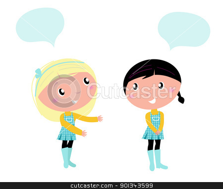 Two cute school girls talking about something stock vector.