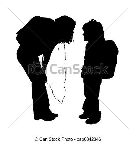 Stock Illustration of Silhouette Children.