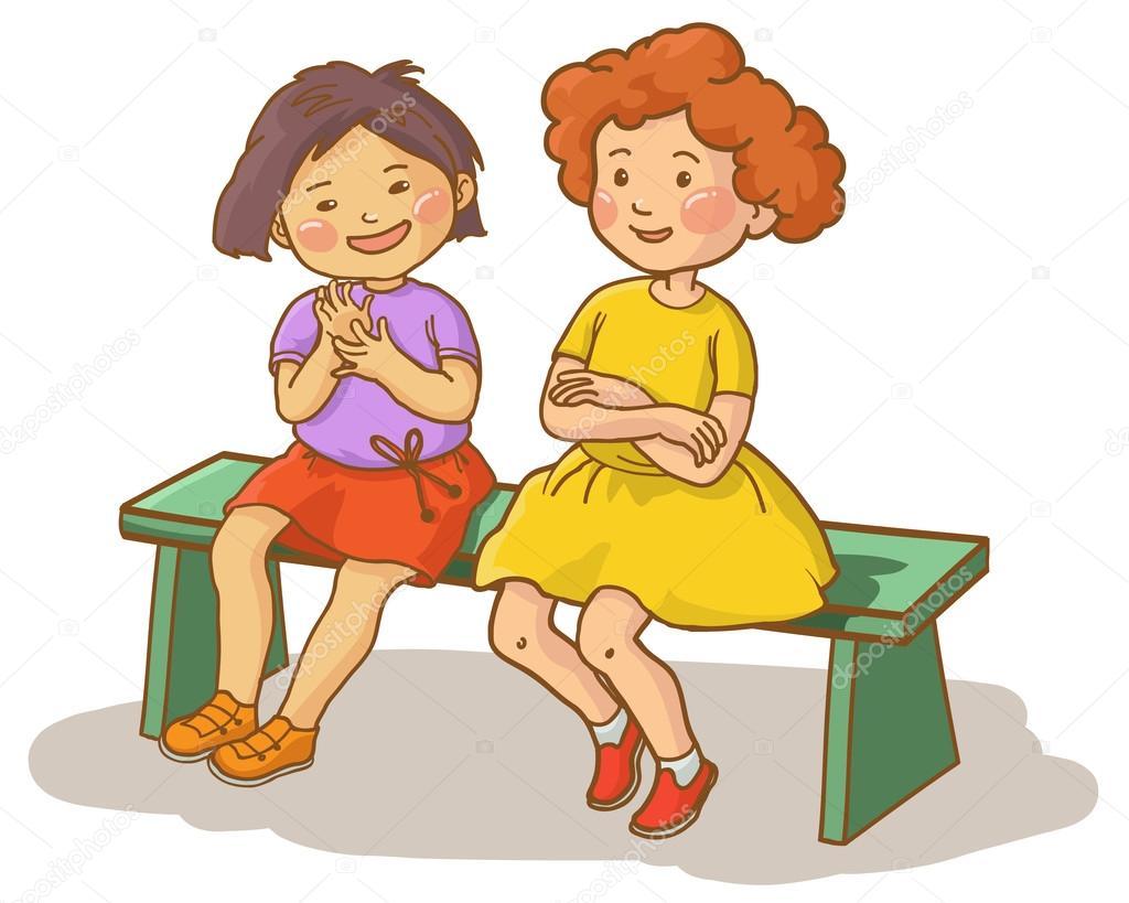 Two girls talking together — Stock Vector © kimazo #69108147.