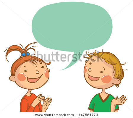 Vector Images, Illustrations and Cliparts: Two kids talking.