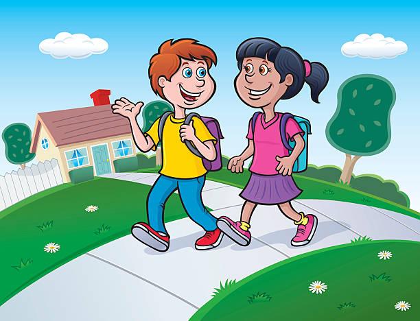 Girls Walking Talking Clip Art, Vector Images & Illustrations.