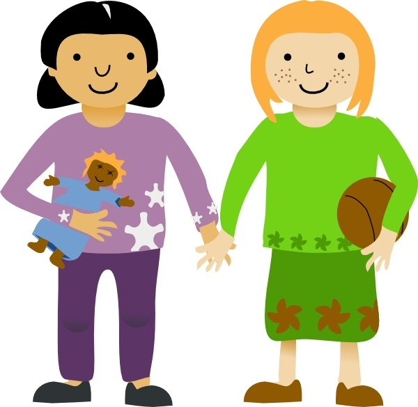Two Little Girls clip art Free vector in Open office drawing.