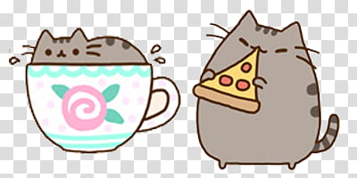 Two Pusheen cats eating pizza and in mug illustration.