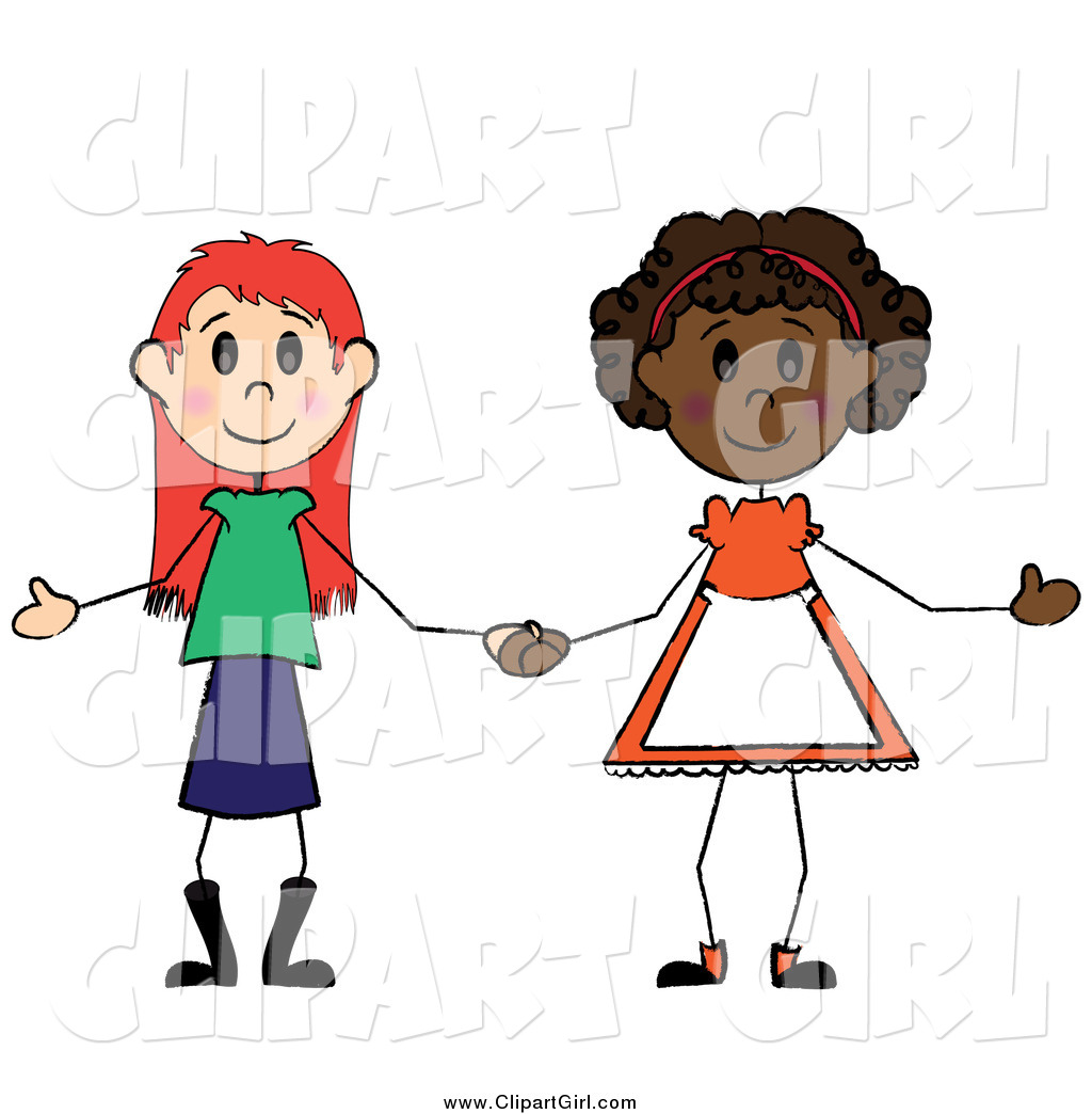 Clip Art of Two Diverse Girls Holding Hands by Pams Clipart.