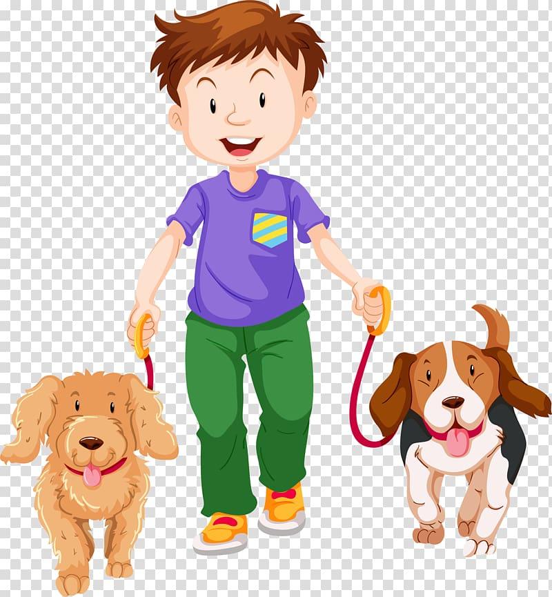 Boy and dogs , Dog walking , Cartoon boy, pet dog.