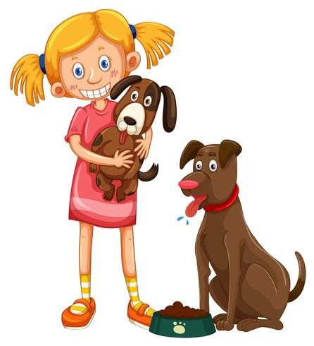 Girl with two pet dogs.