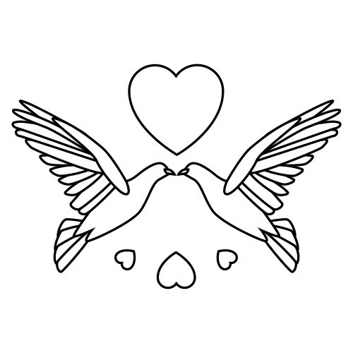 Free Wedding Doves Clipart 2 BW.