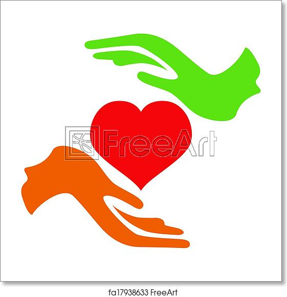 Free art print of Hands hold heart.