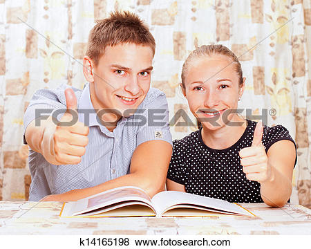Pictures of Two happy people learning together in the classroom.