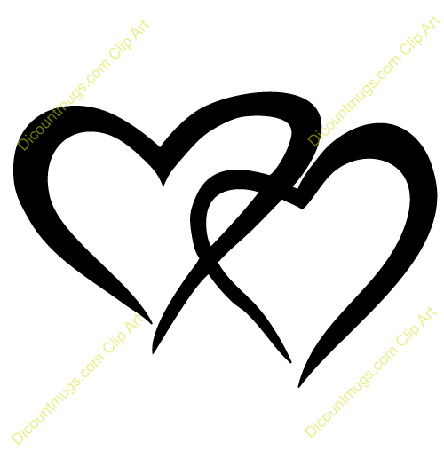Two Hearts Entwined Clipart.