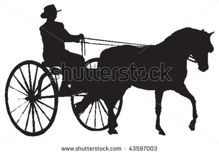 Horse Pulling Wagon Clipart.