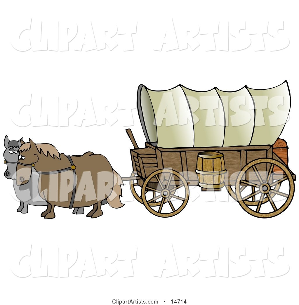 Two Horses Pulling A Big Covered Wagon On The Oregon Trail.