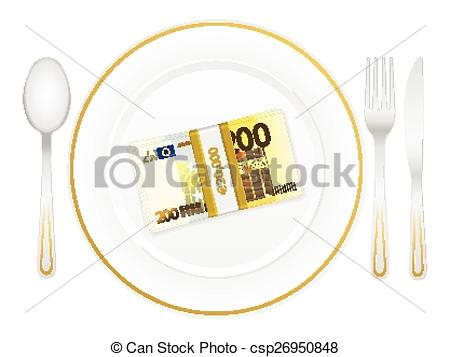EPS Vector of plate cutlery and two hundred euro.