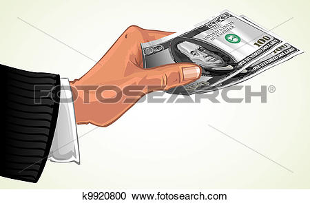 Clipart of hand transfer two hundred dollars k9920800.