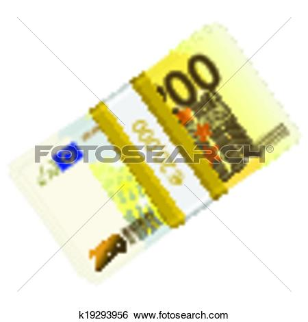 Clip Art of two hundred euro pack k19293956.