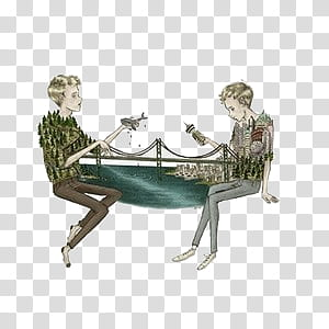 Two person and bridge painting transparent background PNG.