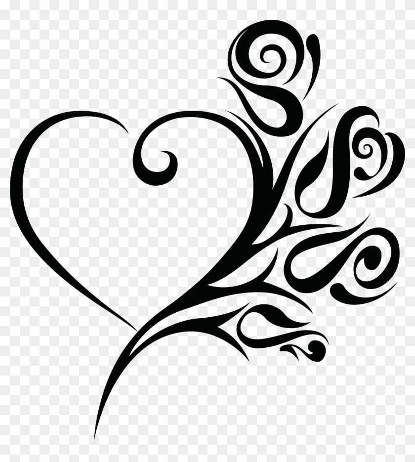Black and white swirl heart clipart clipart images gallery.