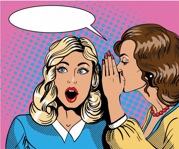 Pop art retro comic illustration. woman whispering gossip or.