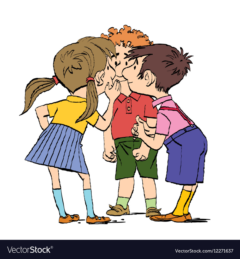 Mystery a group of children whispering vector image.