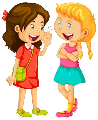 Two girls gossipping on white background.