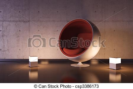 Drawings of Cosy armchair with two lamps in interior.