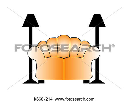 Drawings of Sofa with two lamps on each side. Illustration.